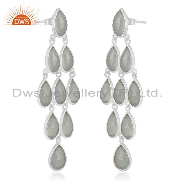 Exporter Aqua Chalcedony Gemstone Sterling Silver Dangle Earring Wholesale Suppliers