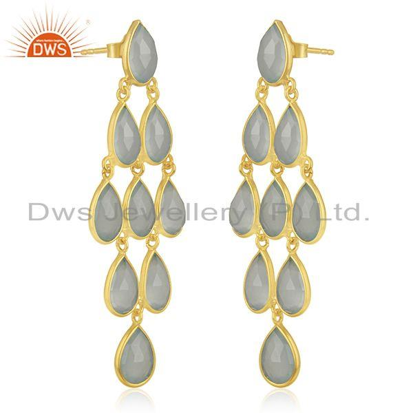 Exporter Aqua Chalcedony Gemstone Gold Plated 925 Silver Earring Manufacturers