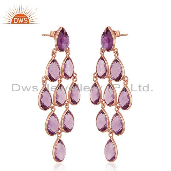 Exporter Natural Amethyst Gemstone 925 Silver Rose Gold Plated Earrings Wholesale
