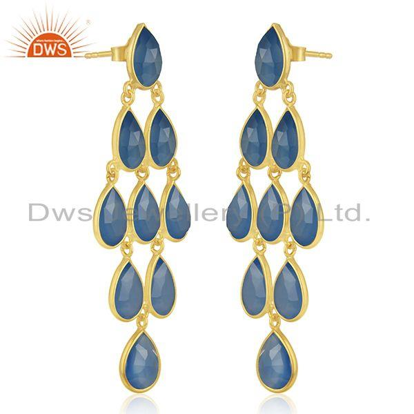 Exporter 925 Silver Handmade Gold Plated Blue Chalcedony Gemstone Earring Supplier