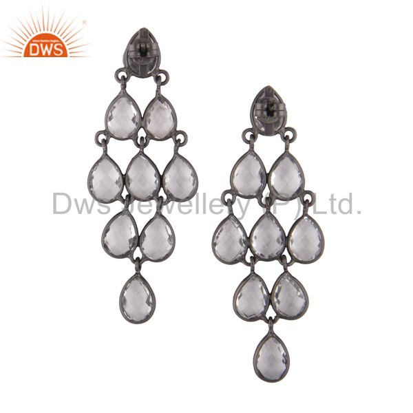 Suppliers Oxidized Sterling Silver Crystal Quartz Engagement Bridal Chandelier Earrings
