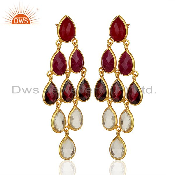 Exporter Garnet Gemstone and Crystal 925 Silver Dangle Earrings Jewelry