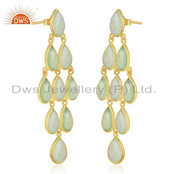Exporter Prehnite Chalcedony Gemstone 925 Sterling Silver Gold Plated Earrings Wholesale