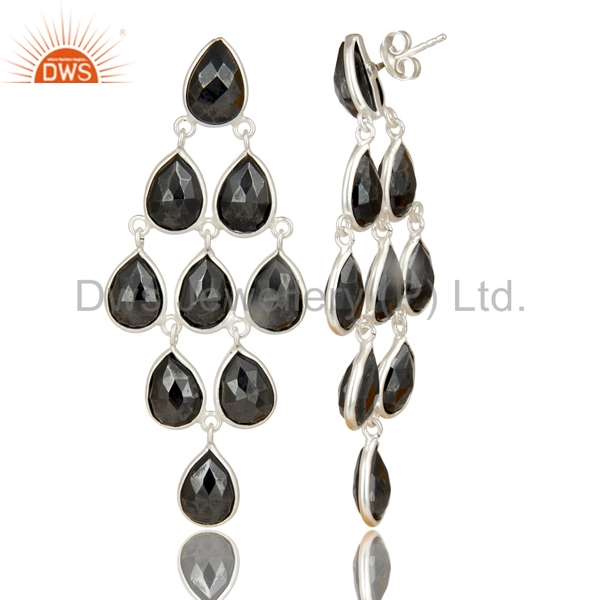 Exporter Handmade Solid 925 Sterling Silver Faceted Hematite Dangle Earrings Jewelry