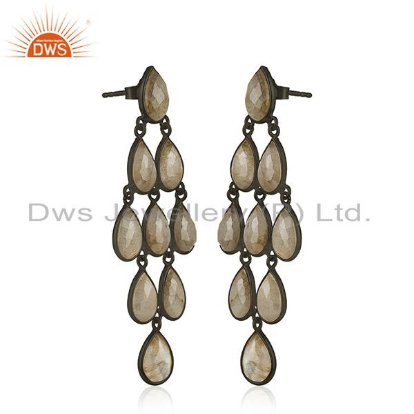 Exporter Labradorite Gemstone 925 Silver Black Rhodium Plated Dangle Earrings Suppliers