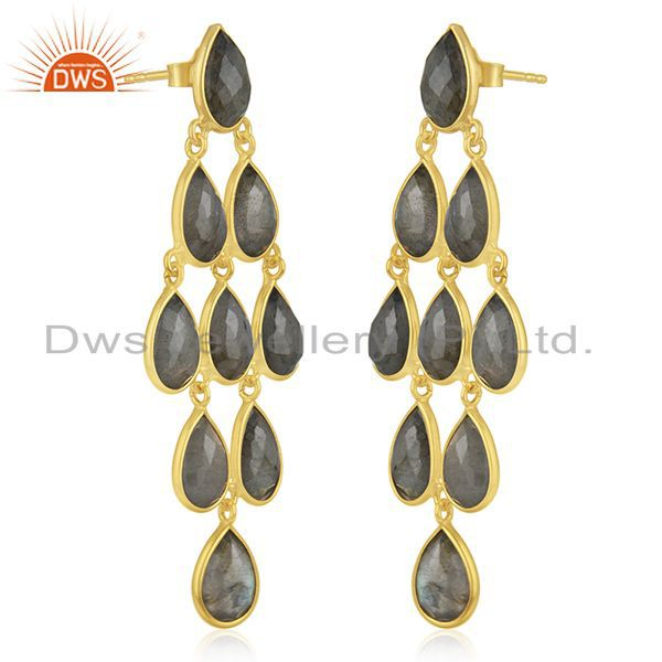 Exporter Handmade Gold Plated 925 Silver Labradorite Gemstone Earring Supplier Wholesale