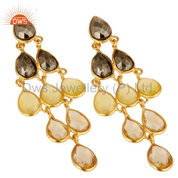 Wholesalers 18K Yellow Gold Plated Sterling Silver Citrine And Chalcedony Chandelier Earring