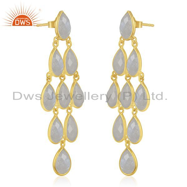 Exporter Wholesale Rainbow Moonstone 925 Silver Gold Plated Earrings Wholesale