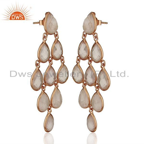 Exporter Rose Gold Plated Handmade 925 Silver Gemstone Earrings Manufacturers