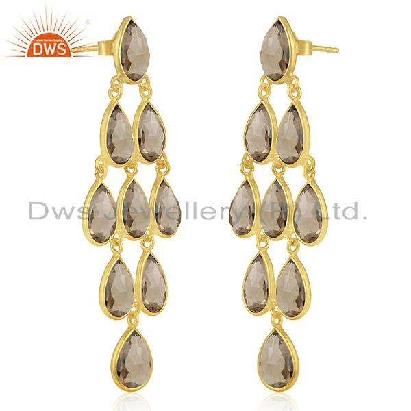 Exporter Wholesale Gold Plated 925 Sterling Silver Smoky Quartz Earring Manufacturer