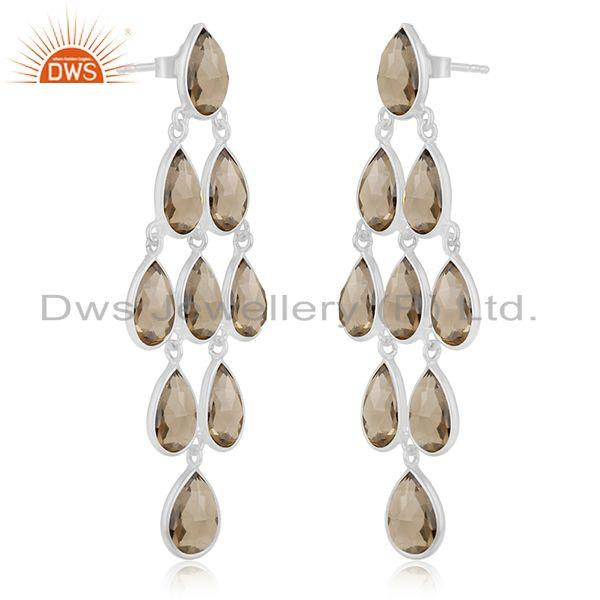 Exporter 92.5 Sterling Silver Smoky Quartz Gemstone Dangle Earring Wholesale