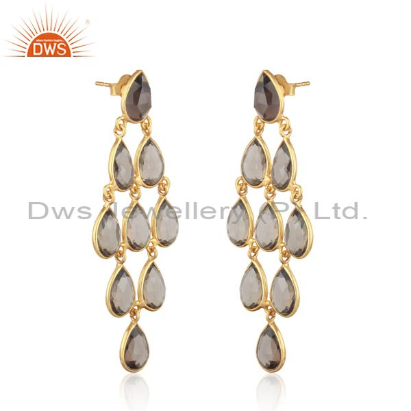18k yellow gold plated sterling silver smoky chandelier earring