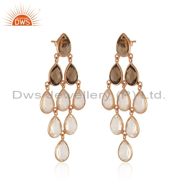 Wholesalers 18K Rose Gold Sterling Silver Rose Quartz And Smoky Quartz Chandelier Earrings