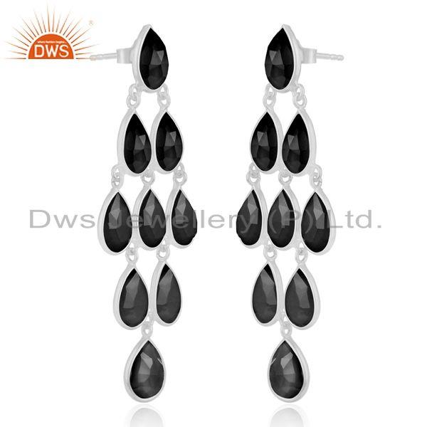 Exporter Fine Sterling Silver Black Onyx Gemstone Earring Manufacturer of Jewelry