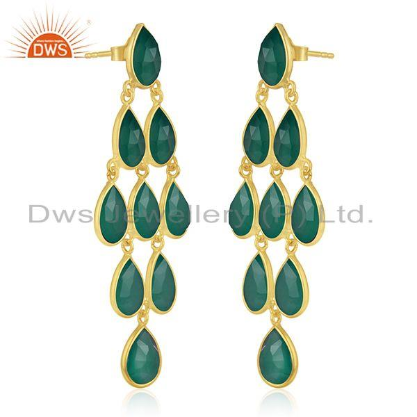 Exporter Sterling Silver Gold Plated Green Onyx Gemstone Earring Manufacturer
