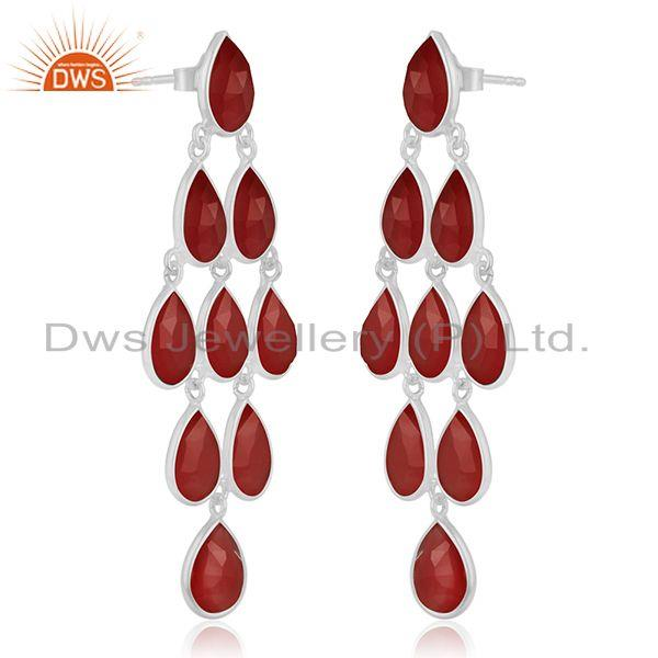 Exporter Red Onyx Gemstone 925 Sterling Fine Silver Dangle Earrings Manufacturer India