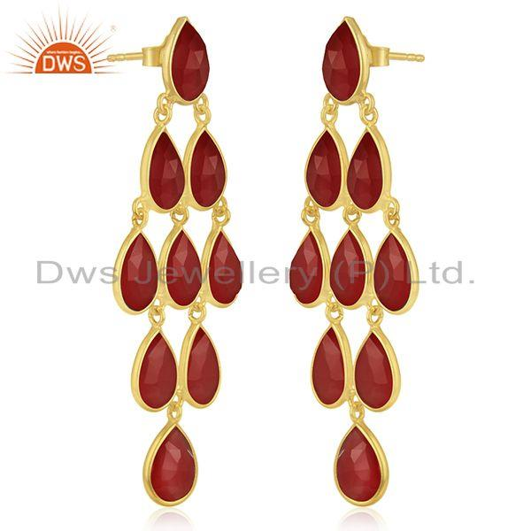 Exporter 14k Gold Plated 925 Silver Red Onyx Gemstone Earring Manufacturers