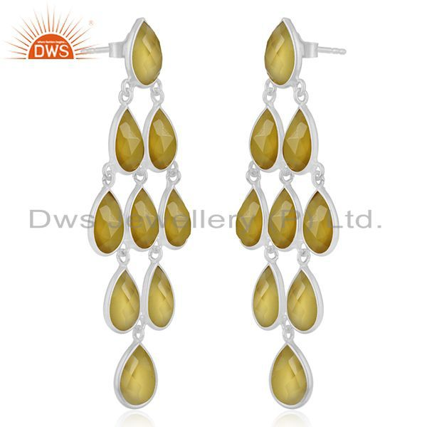 Exporter Yellow Chalcedony Gemstone 925 Fine Silver Earring Manufacturer from India