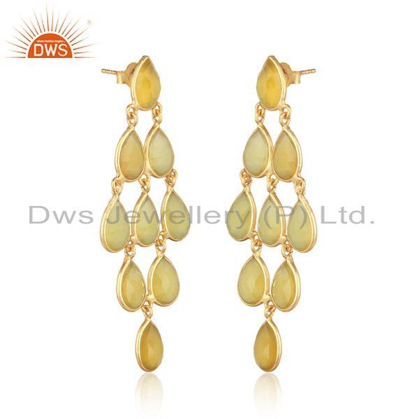 18k yellow gold on silver yellow chalcedony chandelier earring
