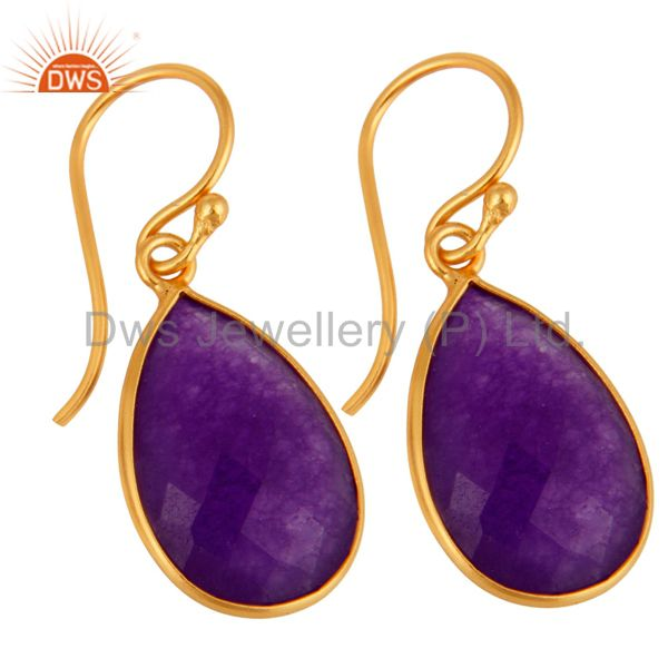 Wholesalers Aventurine Amethyst Gemstone Bezel-Set Drop Earrings In 18K Gold Over Silver