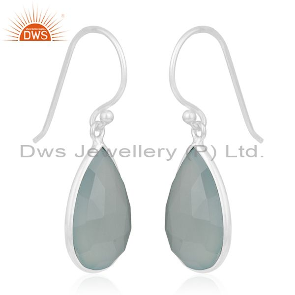 Exporter Aqua Chalcedony Gemstone 925 Sterling Silver Earring Manufacturer from Jaipur