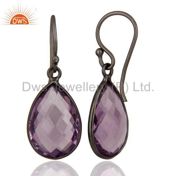 Exporter Oxidized Sterling Silver Natural Amethyst Gemstone Bezel Set Drop Earrings