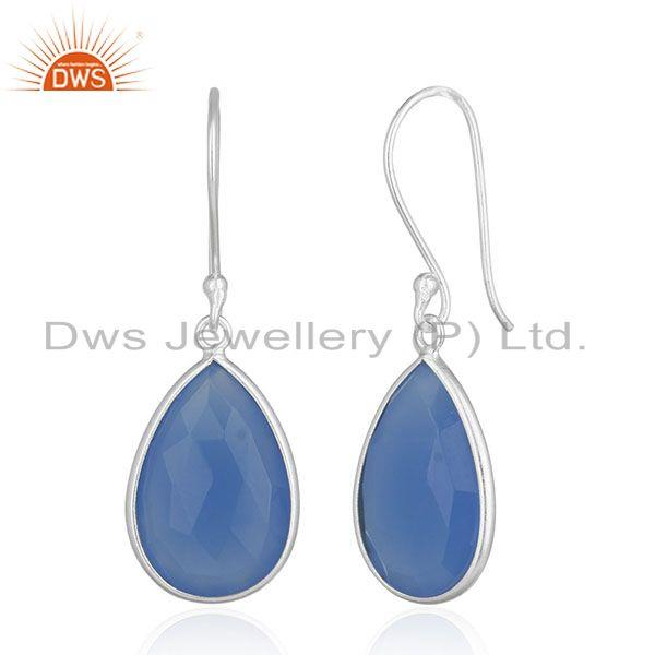 Exporter 925 Silver Blue Gemstone Drop Earrings Silver Jewelry Manufacturer for Designers