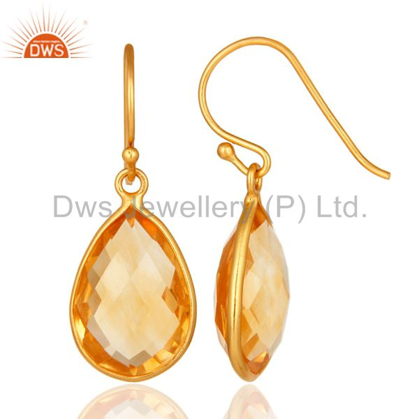 Exporter 18K Yellow Gold Plated Sterling Silver Natural Citrine Gemstone Teardrop Earring
