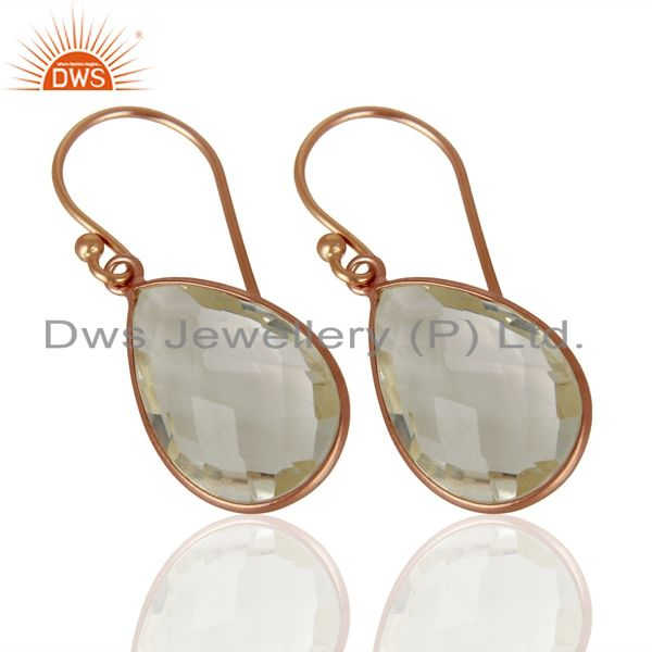 Exporter 18K Rose Gold Plated Sterling Silver Crystal Quartz Bezel Set Drop Earrings