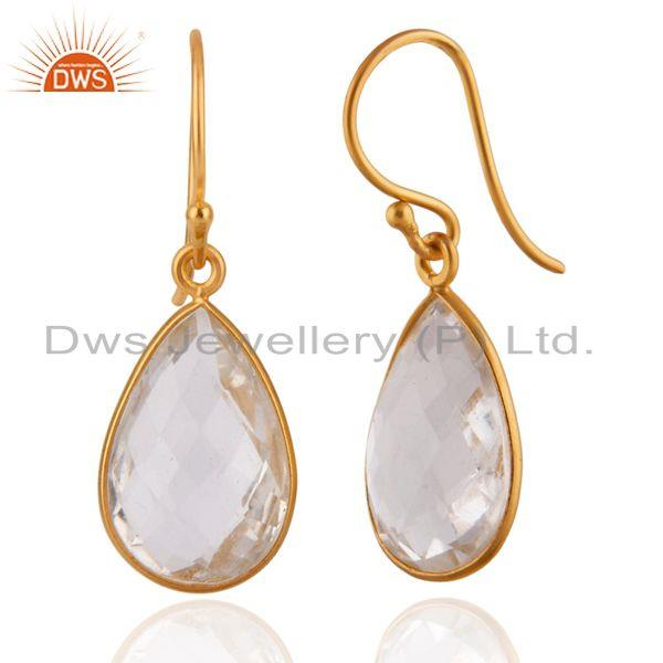Suppliers 22K Yellow Gold Plated Sterling Silver Crystal Quartz Bezel Set Drop Earrings