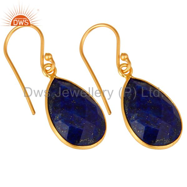 Exporter 18K Yellow Gold Plated Sterling Silver Lapis Lazuli Faceted Bezel Drop Earrings