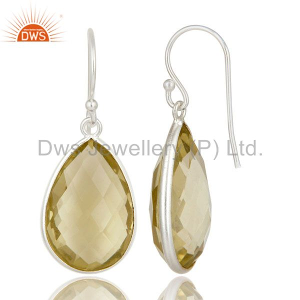 Suppliers 925 Sterling Silver Lemon Topaz Gemstone Bezel Set Teardrop Earrings
