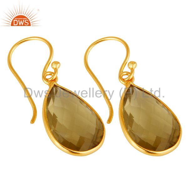Wholesalers Natural Lemon Topaz Bezel-Set Gemstone Drop Earrings In 18K Gold Over 925 Silver