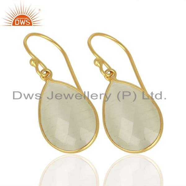 Exporter 14K Yellow Gold Plated Sterling Silver White Moonstone Bezel Set Drop Earrings