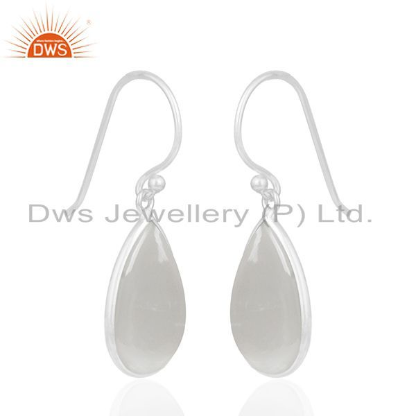 Exporter Grey Moonstone Bezel Set Gemstone 925 Sterling Fine Silver Drop Earring Supplier