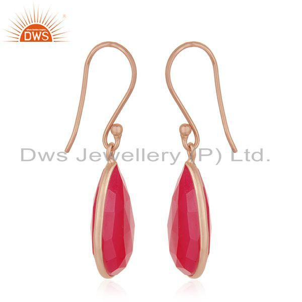 Exporter Pink Chalcedony Gemstone Rose Gold Plated 925 Silver Drop Earrings Wholesale