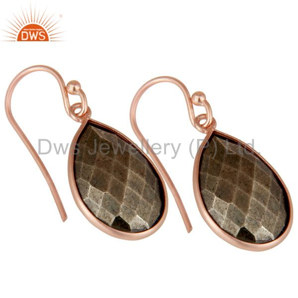 Wholesalers 18K Rose Gold Plated Sterling Silver Golden Pyrite Bezel Set Teardrop Earrings