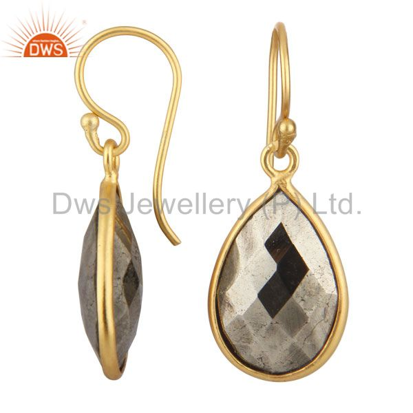Exporter 18K Yellow Gold Plated Sterling Silver Faceted Pyrite Bezel Set Teardrop Earring