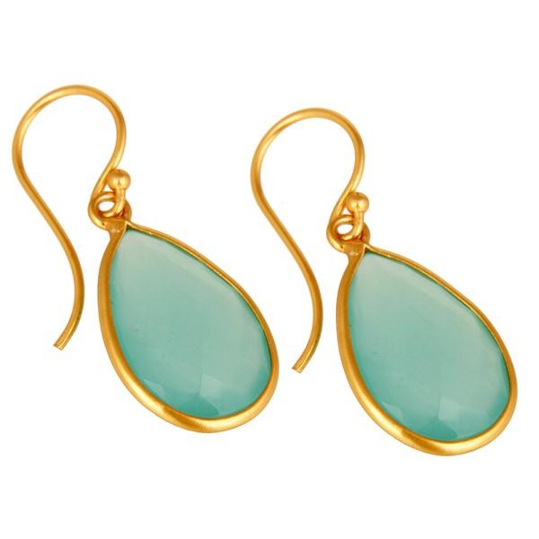 Wholesalers Faceted Green Glass Gemstone Sterling Silver Dangle Earrings With Gold Plated