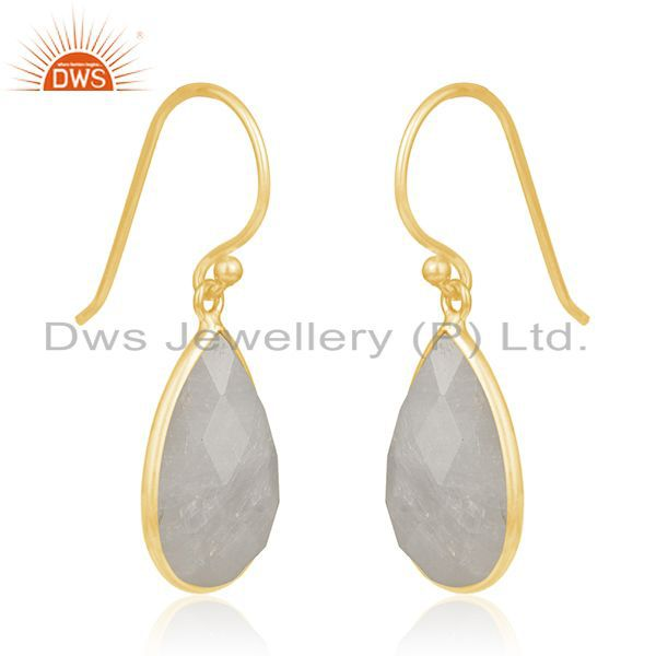 Exporter Gold Plated 925 Silver Rainbow Moonstone Drop Earring Manufacturer From Jaipur