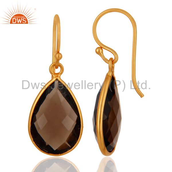 Suppliers Smoky Quartz Faceted Gemstone Sterling Silver Dangle Earrings With Gold Plated