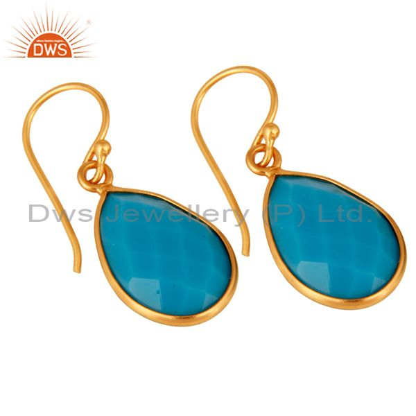Exporter 18K Yellow Gold Plated Sterling Silver Faceted Turquoise Bezel Teardrop Earrings