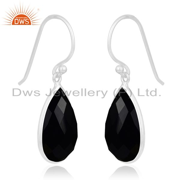 Exporter 925 Sterling Silver Faceted Black Onyx Gemstone Bezel Set Dangle Earrings