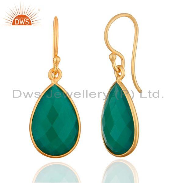 Wholesalers 925 Sterling Silver Faceted Green Onyx Gemstone Drop Earrings - Gold Plated
