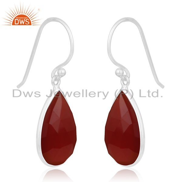 Exporter Red Onyx Gemstone Sterling Fine Silver Earring Manufacturer of Custom Jewelry