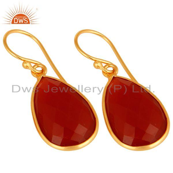 Wholesalers Natural Red Onyx Gold Plated Sterling Silver Bezel-Set Gemstone Drop Earrings