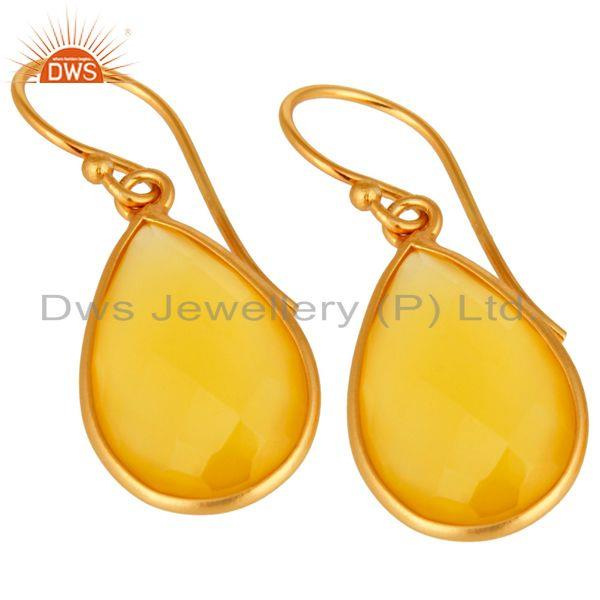 Wholesalers Gold Plated Sterling Silver Yellow Chalcedony Framed Gemstone Drop Earrings