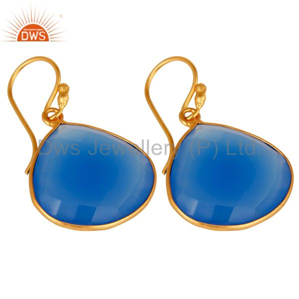Wholesalers 18K Gold Plated Sterling Silver Blue Chalcedony Faceted Gemstone Earrings