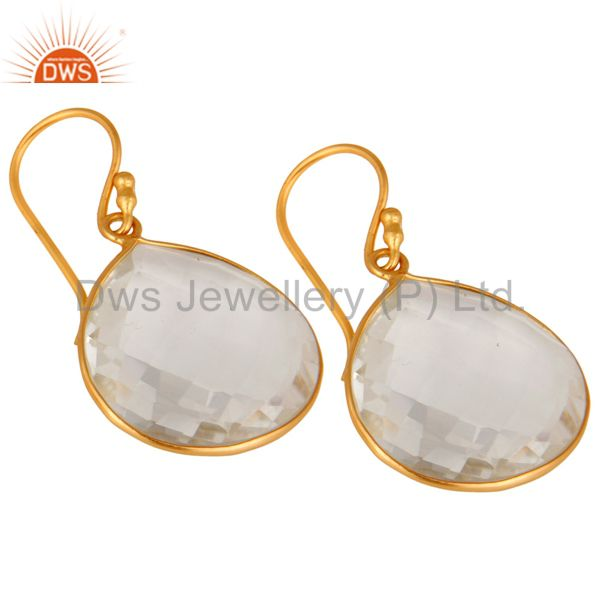 Wholesalers 18K Yellow Gold Plated Sterling Silver Crystal Quartz Bezel Set Earrings