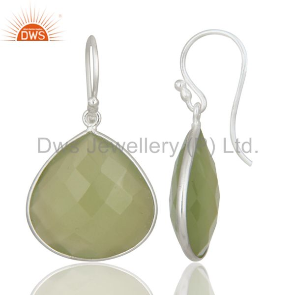 Exporter 925 Sterling Silver Prehnite Chalcedony Gemstone Bezel Set Teardrop Earrings